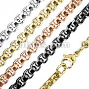 Stainless Steel Round Box Chain Necklace with Lobster Clasp