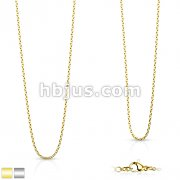 Fine Cross Link Stainless Steel Chain Necklace with Lobster Clasp
