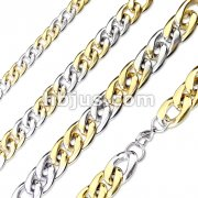 Steel and Gold Duo Tone Stainless Steel Chain Necklace with Lobster Clasp