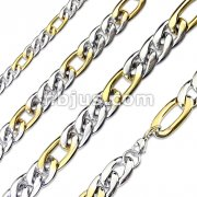 Combination of Small Steel and Large Gold Links Stainless Steel Chain Necklace with Lobster Clasp