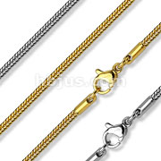 Square Snake Chain Necklace 316L Stainless Steel