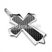 Carbon Fiber Insert Cross 316L Stainless Steel Pendant