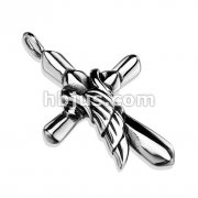 Cross with Angel Wing 316L Stainless Steel Pendant