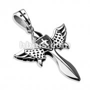 Winged Celestial Healing Sword with Cross Shield Stainless Steel Pendant