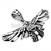 Rider Shield Over Eagle Wings Stainless Steel Pendant