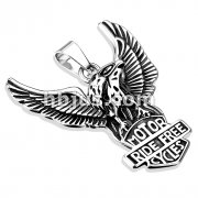 Freedom Eagle Standing Over Riders ShieldStainless Steel  Pendant