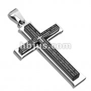 The Lord's Prayer in Spanish on Black IP Cross Stainless Steel Pendant