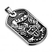 USA Signature Eagle Badge Cast Dog Tag Stainless Steel Pendant