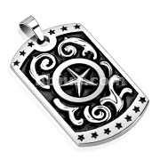 Star with Middle Star Cast Dog Tag Stainless Steel Pendant