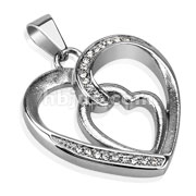 Multi CZ Paved Loop of Hearts Hollow Stainless Steel Pendant