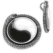 Stainless Steel Yin Yang Snake Medallion Pendant