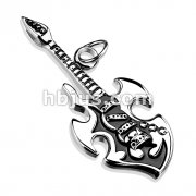 Stainless Steel Rock Star Guitar Pendant