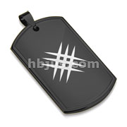 Laser Etched Cross Scratch Black IP Dog Tag Stainless Steel Pendant