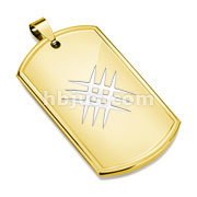 Laser Etched Crossed Scratch Gold IP Dog Tag Stainless Steel Pendant