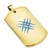 Azure Blue IP Crossed Scratch Gold IP Stainless Steel Dog Tag Pendant