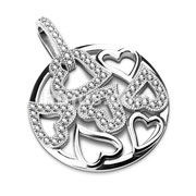 Gem Paved Multi-Heart Round Stainless Steel Pendant