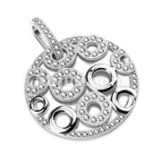 Gem Paved Multi-Circle Round Stainless Steel Pendant