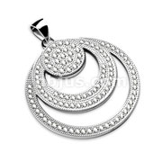Triple Overlapping Gem Paved Circles Round Stainless Steel Pendant