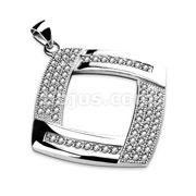 Gem Paved Hollow Square Diamond Shaped Stainless Steel Pendant