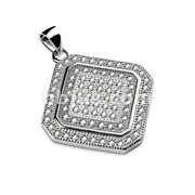 Gem Paved Square Diamond Shaped Stainless Steel Pendant