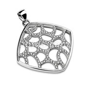 Gem Paved Net in Hollow Square Frame Stainless Steel Pendant