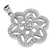 Gem Paved Six Leaf Flower Stainless Steel Pendant