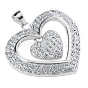 Double Lined CZ Hollow Heart with Dangling CZ Paved Heart Stainless Steel Pendant