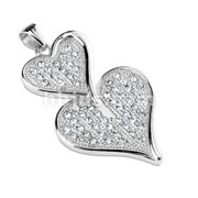 Gem Paved Double Heart Stainless Steel Pendant