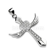 Gem Paved Angel Wing Cross with Centered Heart Stainless Steel Pendant