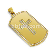 Gold IP Dog Tag Pendant with Paved Gem Cross