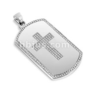 Dog Tag Pendant with Paved Gem Cross