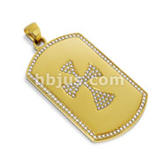 Gold IP Dog Tag Pendant with Paved Gem Celtic Cross