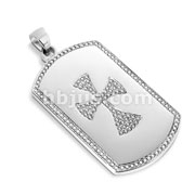 Dog Tag Pendant with Paved Gem Celtic Cross
