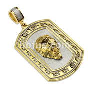 Gold IP Lion Head Dog Tag Pendant with Maze Border on Glass Blast Finish Background