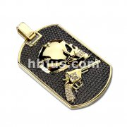 Gold Plated Revolver Pistol Gun and Skull with CZ Accents Dog Tag Stainless Steel Pendant