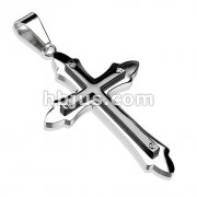 Cross Black IP Bolted on Tribal Cross 316L Stainless Steel Pendant