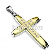 Cross Gold IP Multi CZ Layered 316L Stainless Steel Pendant