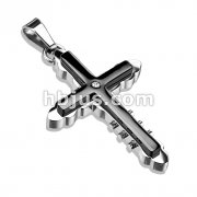 Cross with CZ on Black IP Tribal Cross 316L Stainless Steel Pendant