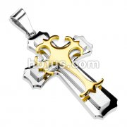 Double Cross w/ Gold Gothic Top Cross Stainless Steel Pendant