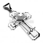 Stainless Steel Double Cross w/ Black Epoxy Gothic Top Cross Pendant