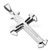 Three Tier Concept Cross Stainless Steel Pendant