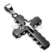 Star Cross on Black IP Bolted Cross 316L Stainless Steel Pendant