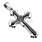 Royal Cross Double Layered Black IP 316L Stainless Steel Pendant