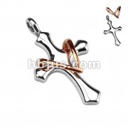 Elegant Cross with Add On Copper Tone Heart Stainless Steel Pendant
