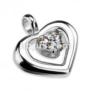 Round Heart with Prong Set Heart Shapped CZ Stainless Steel Pendant