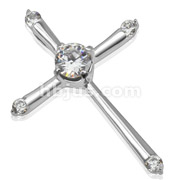 Cross with Centered CZ with Gemmed Points Stainless Steel Pendant