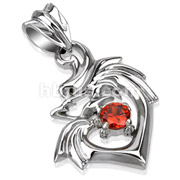 Dragon Heart with Red CZ Stainless Steel Pendant