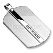 Middle Line of Clear CZ Stainless Steel Dog Tag