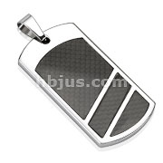 Divided Black Carbon Fiber Inlay Dog Tag Stainless Steel Pendant