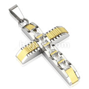 Duo Tone Gold IP Accent with Five Rectangle CZ Stainless Steel Pendant